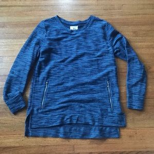 Blue sweater with side zippers